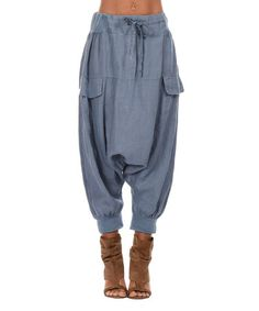 Look what I found on #zulily! Blue Drawstring Drop-Pocket Linen Harem Pants - Women & Plus #zulilyfinds