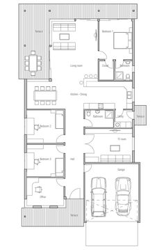 Contemporary Home Plan With Simple Lines And Shapes, Big Windows. Id Put  Wardrobes Between 2 Bedrooms Xx