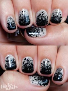 I don't think I could pull it off, but I love the black glitter gradient over nude nails!