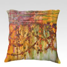 PRISMACOLOR PEARLS 3 Watercolor Fine Art Decorative Velveteen Throw Pillow Cover by EbiEmporium, Modern Elegant Whimsical Abstract Painting Orange Rust Red Olive Green Nature Bedroom Bedding Chic Home Decor Dorm Cushion Cover #decor #homedecor #modern #colorful #pillow #pillowcover #throwpillow #cushion #orange #watercolor #painting #decorative #bedroom #bedding #accessories #elegant #home
