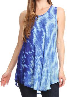 Sakkas Saba Womens Summer Casual Everyday Tie-dye Tunic Tank Top Light and Soft