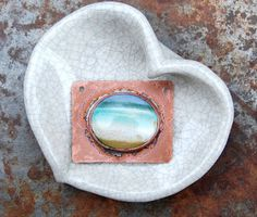 Gaea Ceramic Bead and Art Studio Blog - Original copper framed ceramic art pendant.