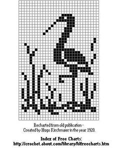 Free Filet Crochet Patterns That Inspire Crane Bird Free Needlecrafts Chart Cross Stitch Bird, Cross Stitch Animals, Cross Stitch Charts, Cross Stitching, Cross Stitch Embroidery, Cross Stitch Patterns, Filet Crochet, Crochet Cross, Crochet Diagram