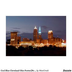 Cool Blue Cleveland Ohio Poster(No Text) Poster