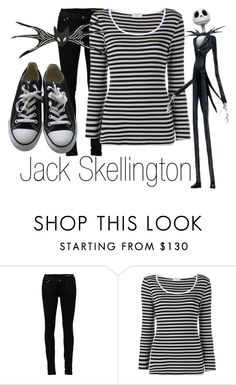 """Jack Skellington~ DiisneyBound"" by basic-disney ❤ liked on Polyvore featuring Yves Saint Laurent, Frame Denim and Converse"