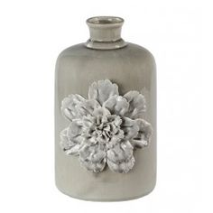 Blue-Gray Vase with Three Dimensional Flower, Small | Silver Nest