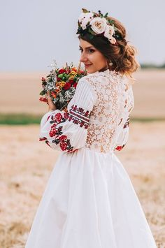 Wesele w stylu folk - inspiracje - Wedding. Romanian Wedding, Russian Wedding, Wedding Bride, Wedding Gowns, Dream Wedding, Wedding Shower Dresses, Wedding Ideas, Polish Wedding, Traditional Wedding Dresses