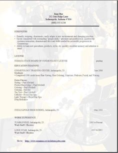 Cosmetology Instructor Resume Sample - http://www.resumecareer ...