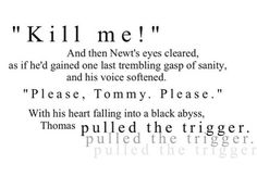 This. THIS. This made me sad. When Newt said kill me and Thomas did, I cried like a baby.
