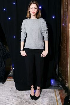 Sofia Coppola showed off her classic style in a simple grey jumper and black trouser combo at the Ballroom Marfa Benefit Gala... How does she look SO good?