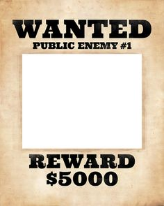 Photo booth frame prop. Printable wanted poster. by PartyGraphix