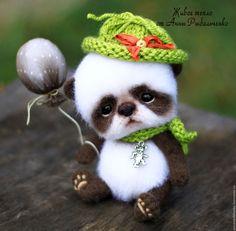 Купить Панда Кайло - белый, коричневый, панда, панда игрушка, панда из шерсти