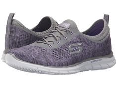 SKECHERS Women Glider Sneakers Slip-on bungee Walking shoe Gray/Lavender Size 9B