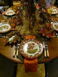 Nancy's Daily Dish: An Autumn Tablescape - Royal Doulton Pomeroy in Sage Green & Rust