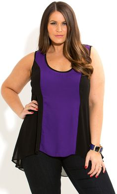 City Chic - HI LO SPLICE TOP - Women's plus size fashion