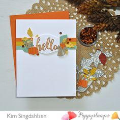 Autumn Hello L Memory Box Cards, Memory Box Dies, Baby Squirrel, Orange Leaf, Pumpkin Crafts, Thanksgiving Cards, Animal Cards, Fall Cards, Card Making
