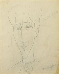 AMEDEO MODIGLIANI (1884-1920) PORTRAIT DE JEAN COCTEAU