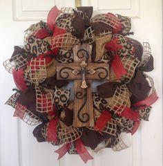 Burlap Wreath - Burlap Mesh Wreath - Rustic Cross - Animal Print Wreath - Brown Wreath - Red Burlap Wreath - Burlap Wreath with Cross...for $91.00 by KaylasKreations