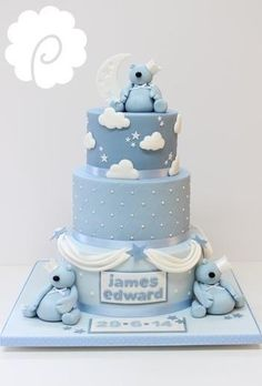A cute little bear themed' naming' cake in soft tones of blues.