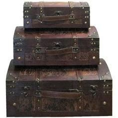 Leather & Wood Veneer Dome Trunks  >Great for storing jewelry, nail polish, and make up!