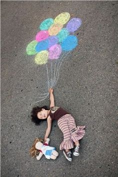 Now that I know that you all are on board with sidewalk chalk, I've rounded up a bunch of super fun sidewalk chalk photos. I love all the creativity I'm seeing when it comes to sidewalk chalk photos. Creative Photography, Children Photography, Art Photography, Levitation Photography, Exposure Photography, Outdoor Photography, Kids Crafts, Jar Crafts, Chalk Photos