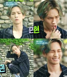 Kibum doing the face expressions of the members xD