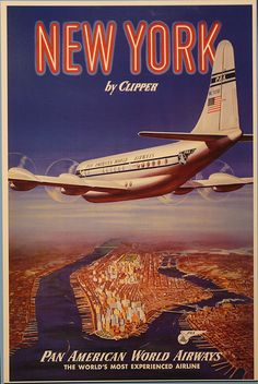 New York Travel Ads (Vintage Art) Posters, Prints, Paintings & Wall Art for Sale Retro Poster, Poster Art, Art Deco Posters, Retro Airline, Vintage Airline, Vintage Advertisements, Vintage Ads, Photo New York, Travel Ads