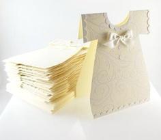 Art Baby Dress Shower, Dedication or Christening Invitation Cards - Stampin Up handmade-invitations