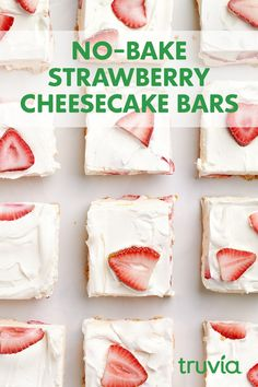 No-Bake Strawberry Cream Cheese Bars Recipe with Truvia Confectioners Sweetener Köstliche Desserts, Delicious Desserts, Yummy Food, Tasty, Strawberry Dessert Recipes, Strawberry Cheesecake, Cheesecake Bars, Cream Cheese Bars, Baked Strawberries