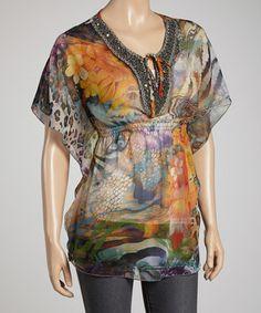 Look at this #zulilyfind! Sienna Rose Orange Hidden Snake Cape-Sleeve Top by Sienna Rose #zulilyfinds