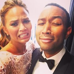 Stars Give an Inside Look at the 2015 Golden Globes: Chrissy Teigen and John Legend practiced their crybaby faces.