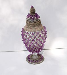 Glass Apothecary jar with crocheted bead cover by CrowsCottage, $17.00