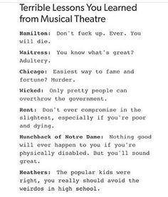 Dear Evan Hansen: Lying is the quickest way to happiness Newsies: A strike always solves problems Musical Theatre Broadway, Music Theater, Broadway Shows, Musicals Broadway, Rent Musical, Waitress Musical, Wicked Musical, Theatre Jokes, Theatre Nerds