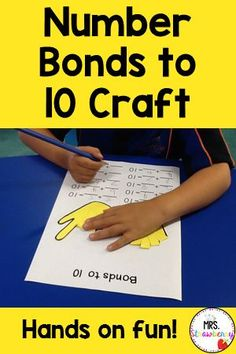 Use these hands on printables to teach and reinforce number bonds with students during math centers or small groups. Students will love keeping track of their numbers by folding the paper fingers down. These are great for math fluency and easy to use in kindergarten or first grade.