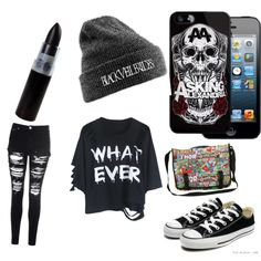 so i made this because this is what I would wear to warped tour by shenandoah-shelton on Polyvore featuring polyvore fashion style Glamorous Converse