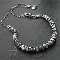 Necklace is made of oxidized silver 925 The details diameter is up to 0.31 (8 mm) Labradorite approx 0,23 (6mm) Circuit optional : 16,17,18,19,20, 21,22or 23 inches + extra 1.57 (40.6cm, 43.2cm, 45.7cm, 48.2cm or 50,8cm + extra 4cm regulation) Theres also an option to buy a bracelet and earrings to the set (visible on the last photograph). We pack all the items in corporate boxes (visible in some offers). We ship all the consignments as priority registered consignments in well protected…