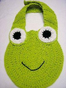 Crocheted frog bib