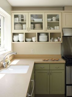 Kitchen Cabinet and Open Shelving. Kitchen Cabinet and Open Shelving. Two Tone Kitchen Cabinets, Green Cabinets, Upper Cabinets, Glass Cabinets, Medicine Cabinets, Glass Shelves, Colored Cabinets, White Cabinets, Painted Cupboards