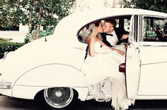 Adorable vintage get-away car.  Photo by Brittany Stover Photography. www.wedsociety.com  #wedding #transportation