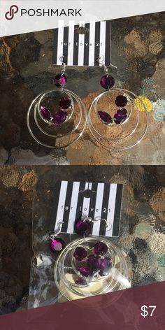 FINAL PRICE purple and Silver Hoop Earrings NWT purple and Silver Hoop Earrings by for love 21 NWT. Never worn, comes in original packaging. Bundle and Save! for love 21 Jewelry Earrings