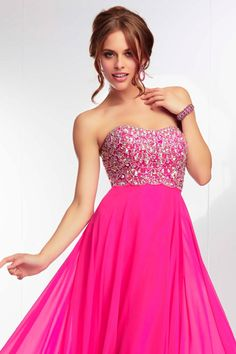2014 Prom Dresses Empire Waist Beaded Bodice A Line New Arrival