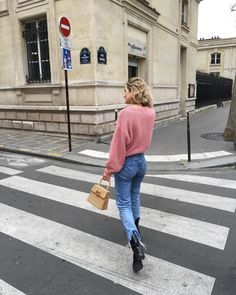 m File, street style, denim, pink sweater