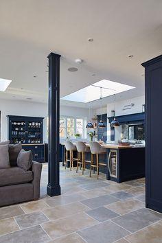 RSJ pillar cladded in dark blue painted panel to match bespoke kitchen - The Main Company French Kitchen Decor, Home Decor Kitchen, Interior Design Kitchen, Home Kitchens, Dark Kitchens, French Kitchens, Luxury Kitchen Design, Apartment Kitchen, Rustic Kitchen