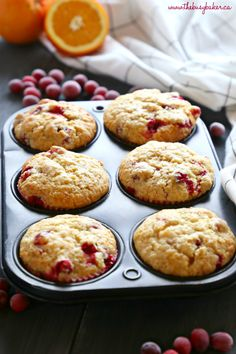 These Cranberry Orange Muffins are packed with tart cranberries and zesty orange flavour and they make the perfect sweet treat or snack! They're the perfect recipe for beginning bakers because they're easy to make with simple ingredients! Cranberry Dessert, Cranberry Orange Muffins, Breakfast Recipes, Dessert Recipes, Drink Recipes, Biscuits, Muffin Tin Recipes, Muffin Bread, Healthy Muffins