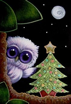 TINY VIOLET OWL with HER 1ST CHRISTMAS TREE by Cyra R. Cancel