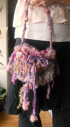 rustic handknit  boho shoulder bag fantasy by beautifulplace, $54.00