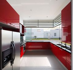 Image result for black red and white kitchen