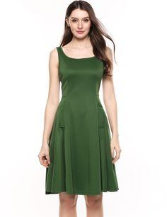 Green Square Collar Sleeveless Solid Elastic A-Line Tank Casual Dress