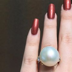 One fantastic pearl! South Sea Pearl And Diamond Ring by BFJewelryEst1984 on Etsy