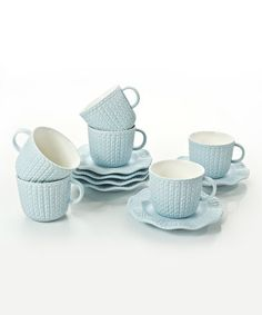 This Light Blue Tea Cup & Saucer - Set of Six is perfect! #zulilyfinds